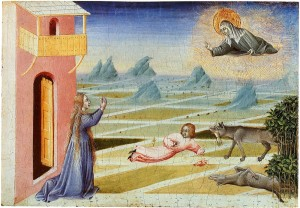 Saint Clare of Assisi saving a child from a wolf