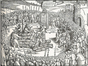 Latimer and Ridley burned at the stake