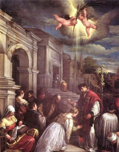 Saint Valentine baptizing saint Lucilla