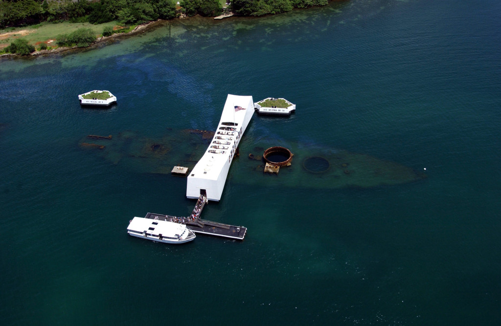 An aerial view of the USS Arizona Memorial