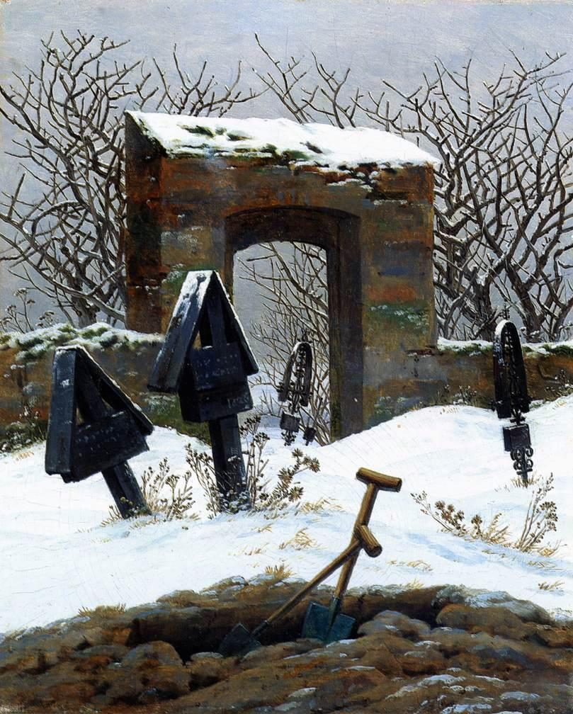 Graveyard under snow