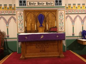 Lenten Altar with wooden candlesticks