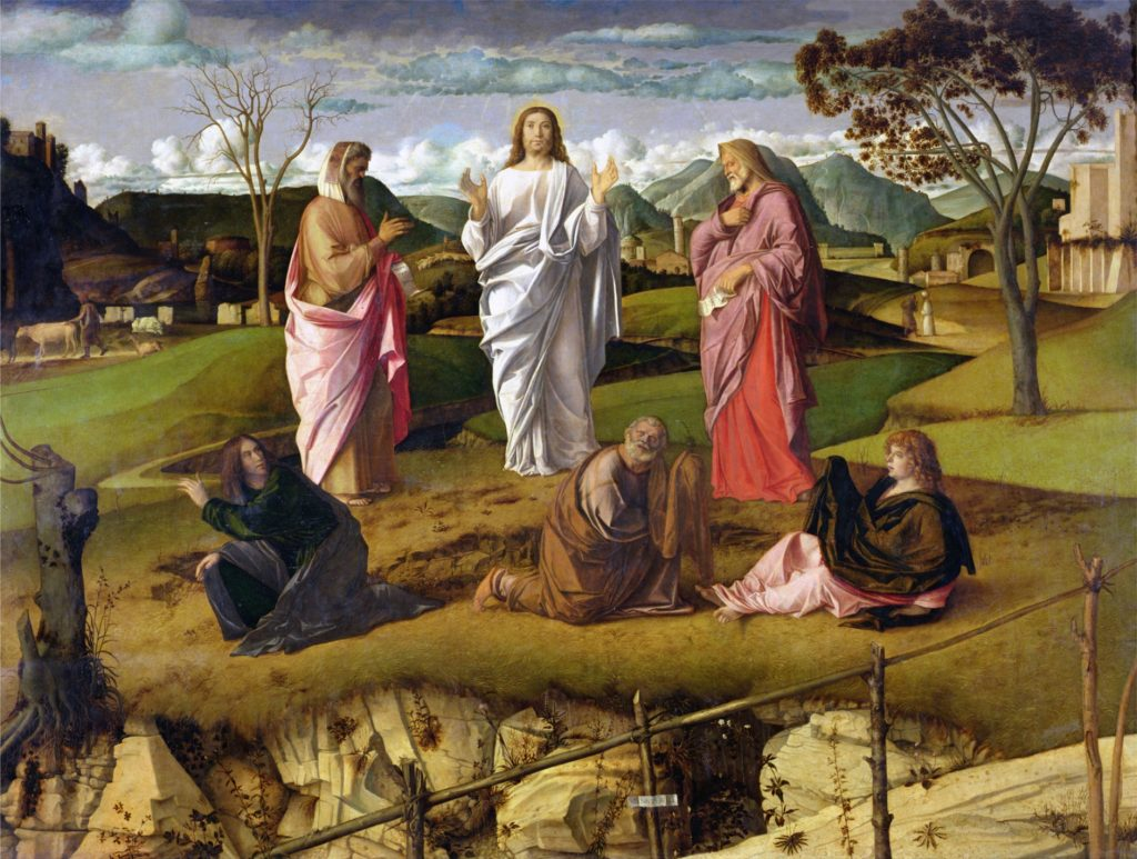 The Transfiguration, by Giovanni Bellini (c. 1430–1615). From Wikipedia.