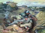 Soldiers resting on Omaha Beach