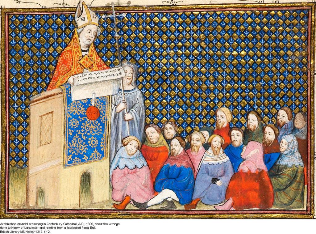 Archbishop Arundel preaching in Canterbury cathedral 1399 lg