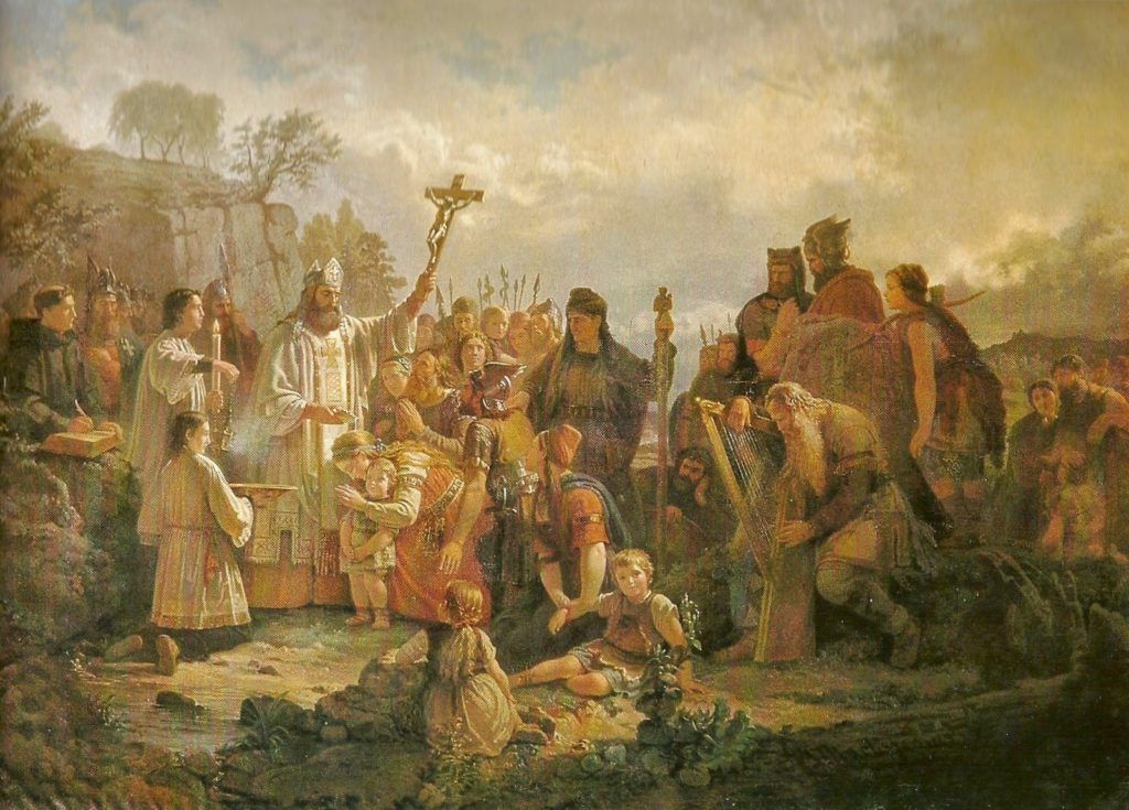 St Sigfrid baptizes the heathen (also called St Sigfrid baptizes in Småland), by Johan Zacharias Blackstatius (1816–1898).