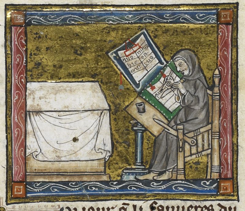 hermit at work on a manuscript