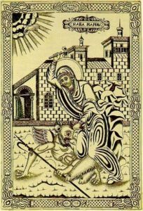 St Marina the Martyr hammering a devil