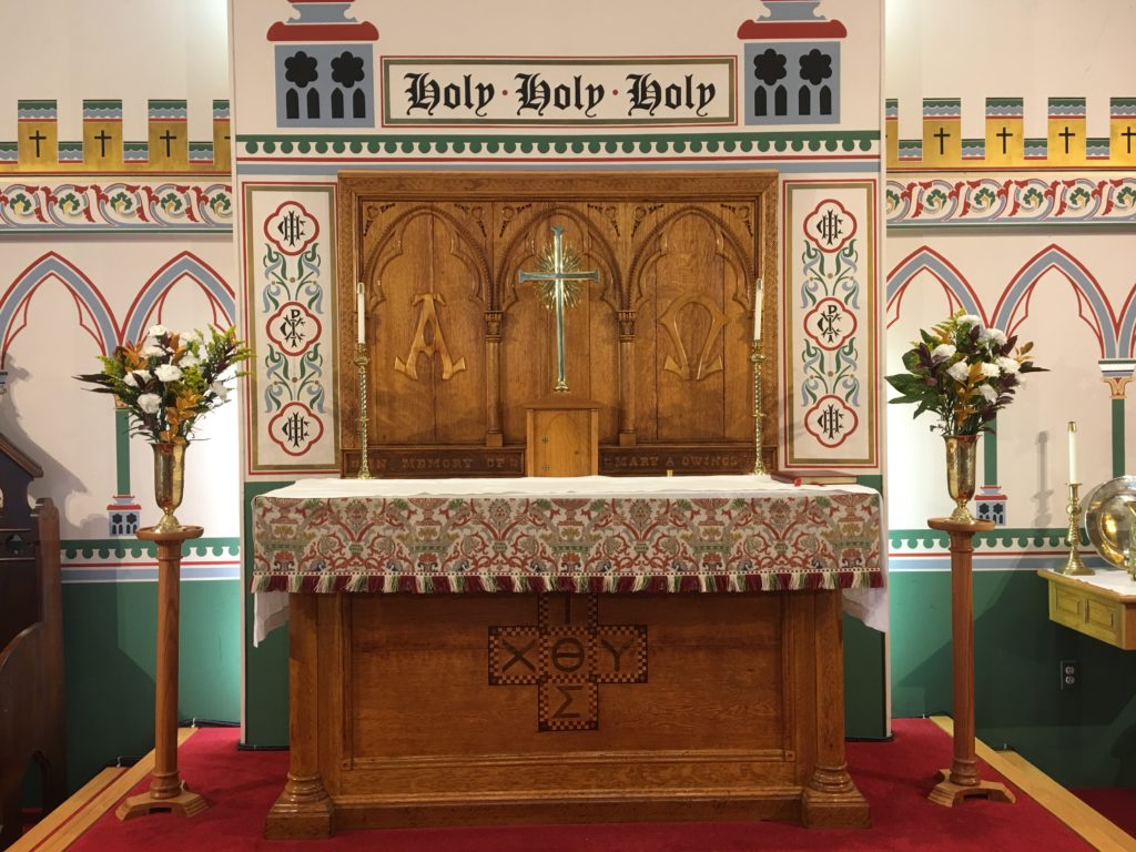 Altar Flowers — Trinity XXV, 18 November 2018. Given to the glory of God by the Darrell Family in thanksgiving for the men and boys of our choir.