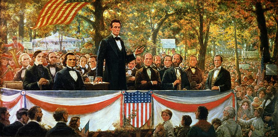 Abraham Lincoln and Stephen A. Douglas Debating at Charleston