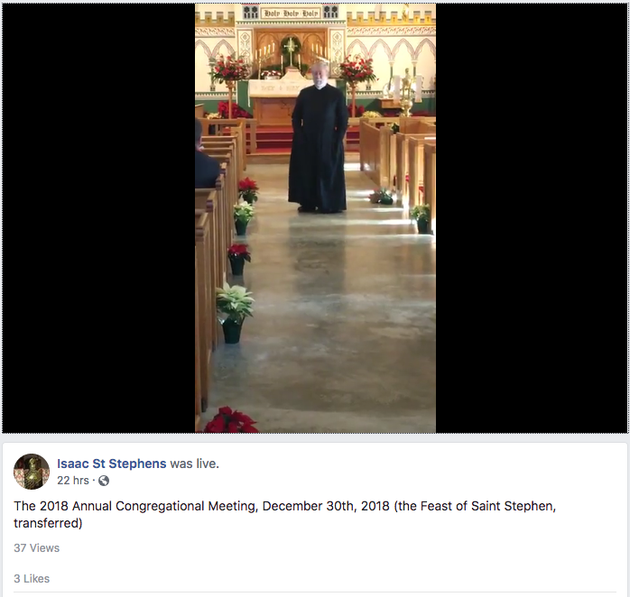 Screen cap of Fr Hawtin speaking at the Annual Congregational Meeting, from Isaac's Facebook Live stream