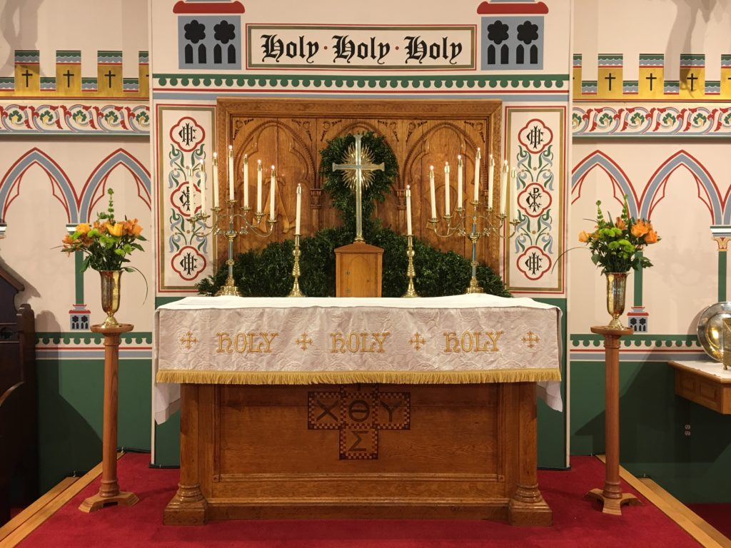 Altar Flowers — Epiphany II, 20 Januay 2019. The flowers on the altar are given to the glory of God by John P. Zebelean III in memory of Gen. Robert E. Lee.