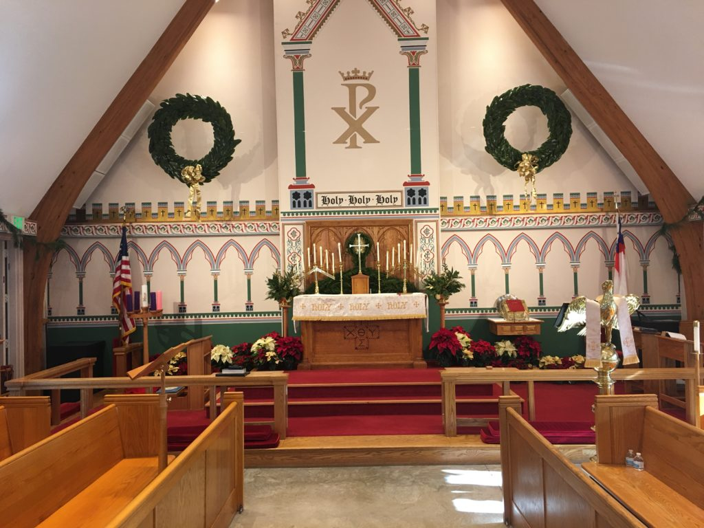 Chancel decorated for Christmas, 2019