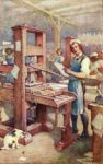 Benjamin Franklin at the printing press