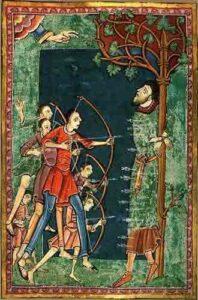 Edmund being martyred